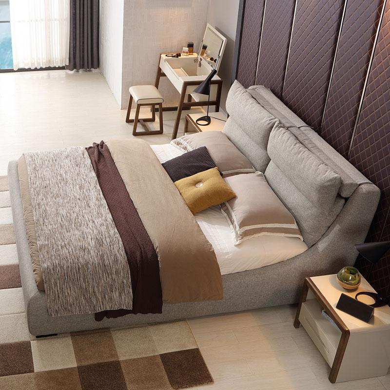 林氏木业1.8米布艺床气动储物布床双人床简约现代小户型家具R240产品展示图1