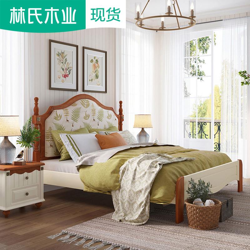 美式乡村木床双人床布艺实木床公主主卧家具1.5单人软包婚床LSN2A