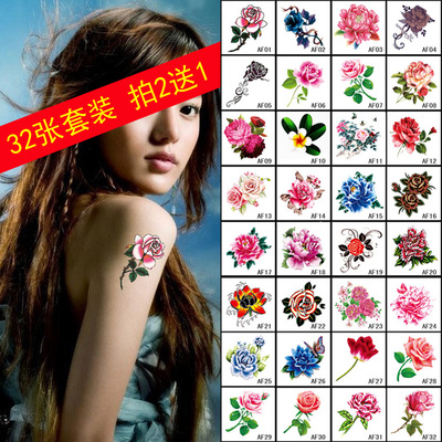 32 tattoo stickers set tattoo stickers waterproof simulation female lasting tattoo small fresh rose arm stickers
