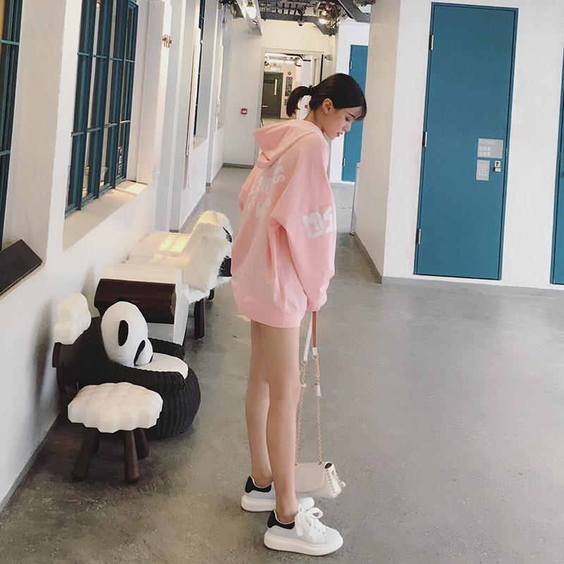 GG秋季中长款粉色卫衣女薄长袖学生外套韩版套头连帽宽松字母上衣