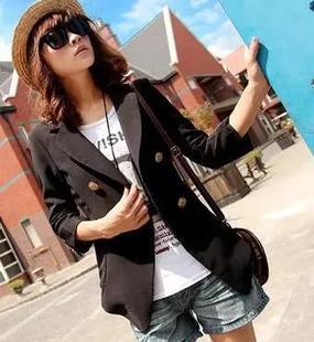 【免】2017春款新款短款小西服七分袖西装外套女黑色职业装韩版
