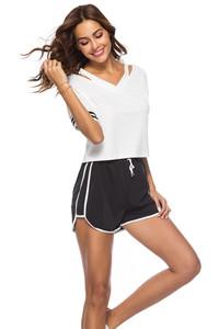 1024#外模实拍外贸速卖通ebay亚马逊跨境短袖白T恤+黑色短裤套装