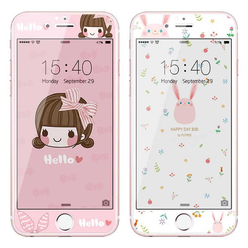 阿仙奴iphone6钢化膜苹果6plus手机彩膜6s全屏覆盖7卡通贴膜六4.7