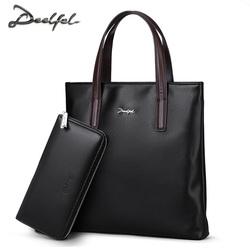 迪菲莱正品男手提包竖款方形简约商务公文男包休闲韩版款男士皮包