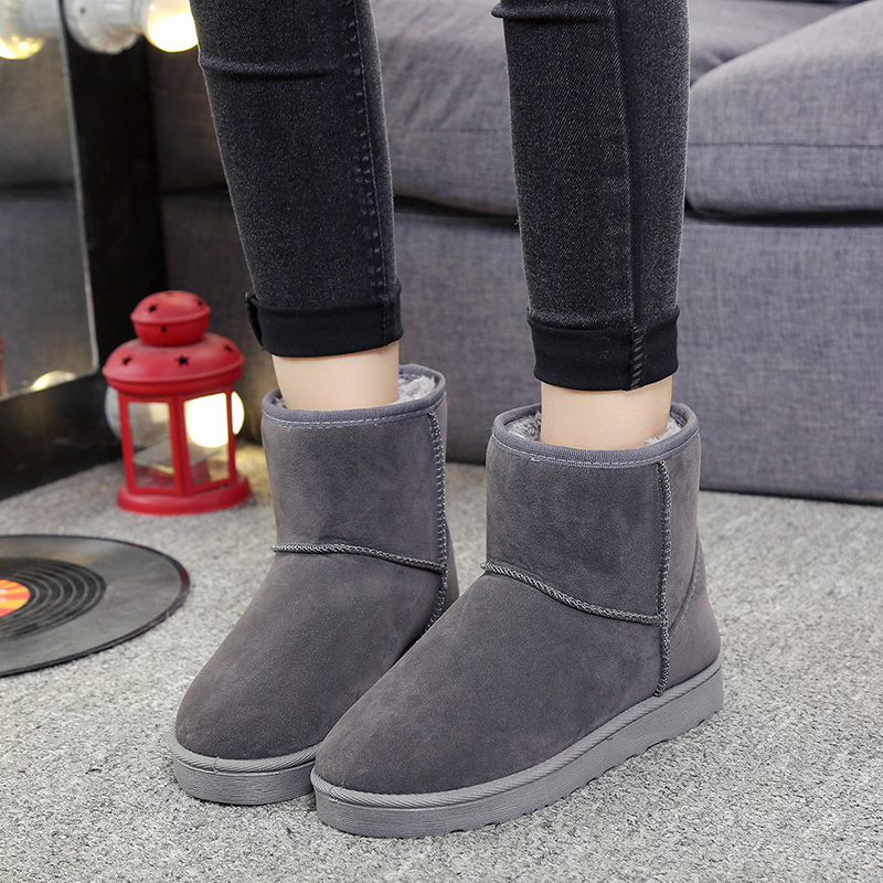 Snow boots Duantong female Korean version of the influx of 2017 new winter boots plus velvet padded wild female student flat boots