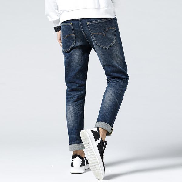 Lee Cooper Lee Cooper秋季新品男士牛仔裤修身小脚韩版潮流弹力青少年长裤子