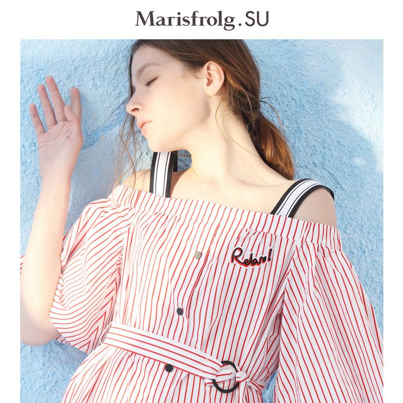 Masfer.SU玛丝菲尔素2018春夏新款 短袖条纹露肩吊带印花连衣裙