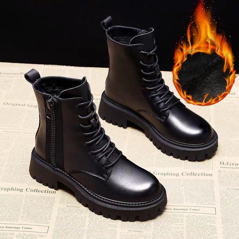 软皮马丁靴女英伦风2020秋冬季新款百搭加绒厚底网红短靴子ins潮