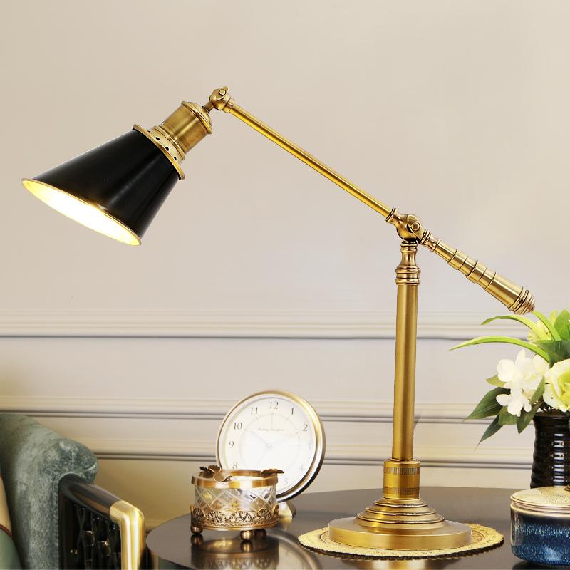 帝拿 可调角度书房台灯个性创意护眼办公台灯美式简约全铜台灯