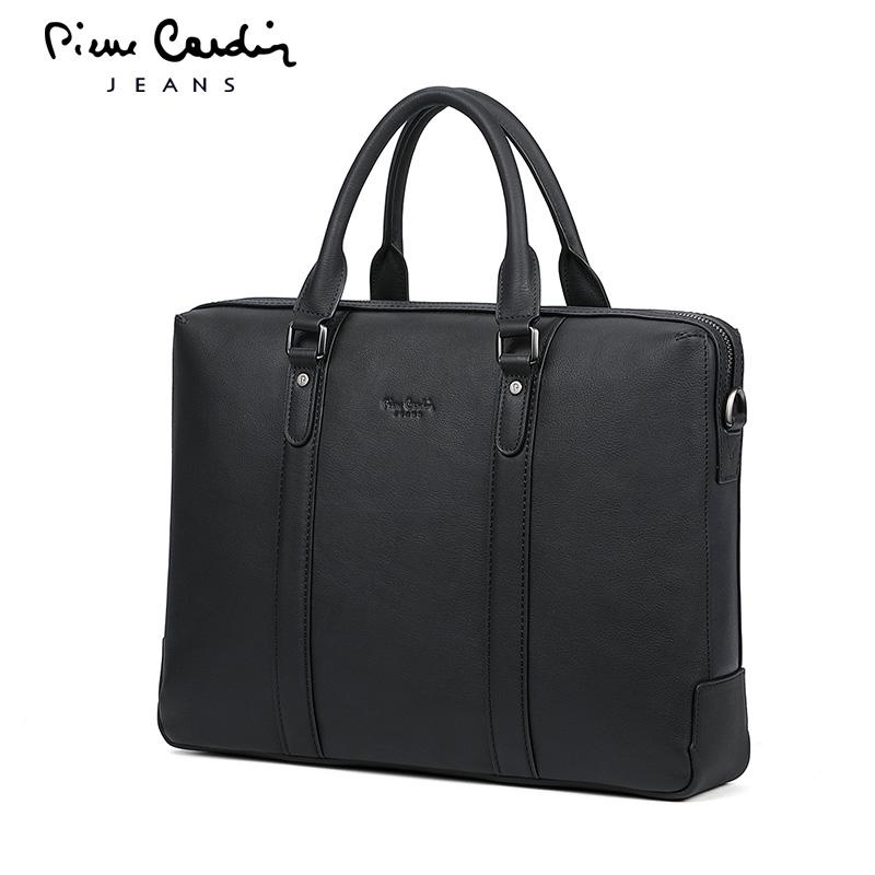 皮尔卡丹公文包男士头层牛皮商务手提包休闲横款大容量单肩包包