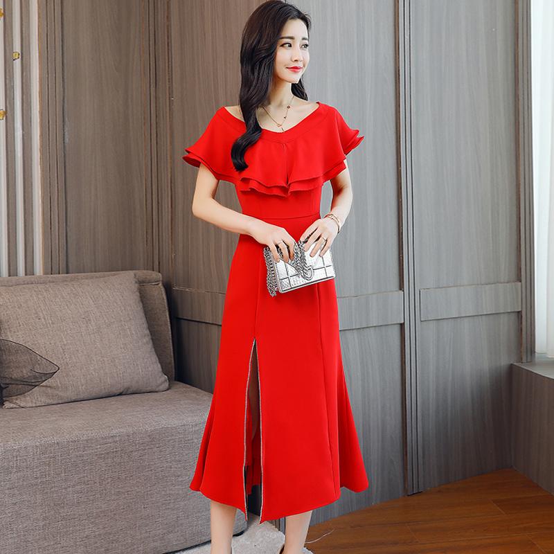 2018夏装新款晚礼服 红色回门服敬酒服结婚新娘宴会小礼服连衣裙