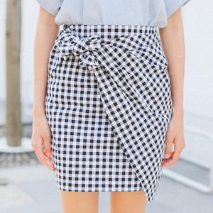 实拍362#夏季韩国热卖黑白格子高腰绑带包臀半身裙