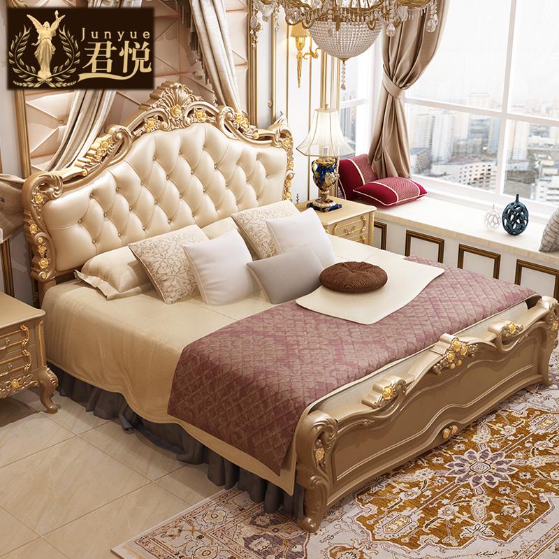 君悦 欧式真皮床香槟金双人床1.8米奢华公主床高箱主卧室婚床套装