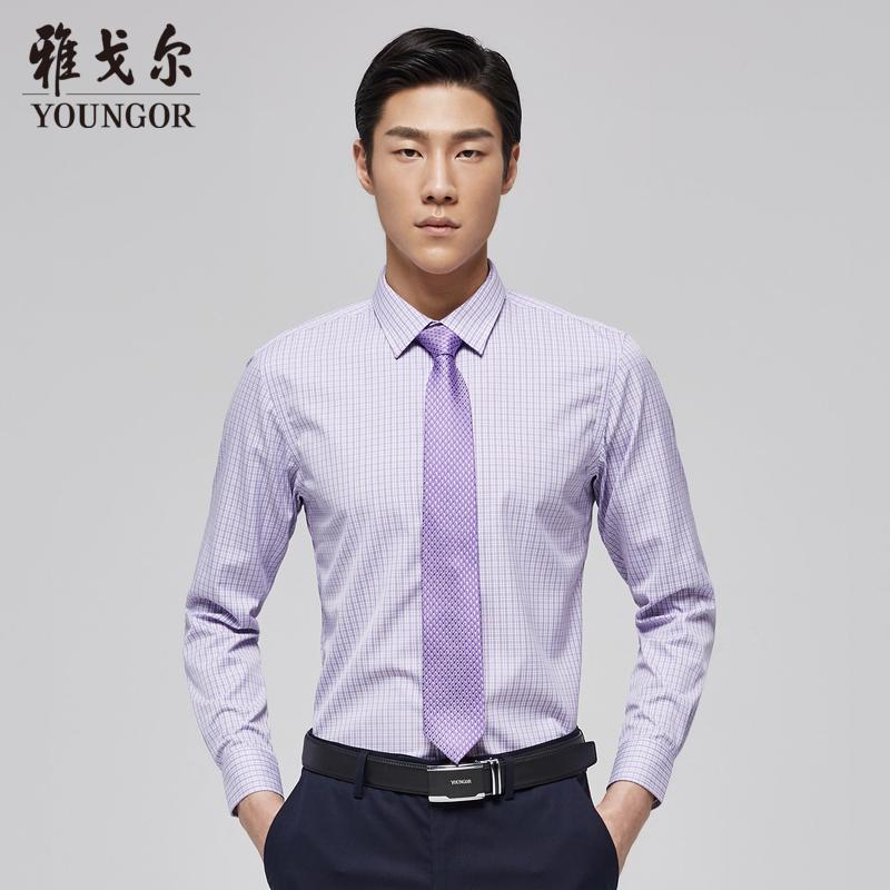 Youngor-雅戈尔2017秋季新款男士全棉修身格子休闲长袖衬衫7042