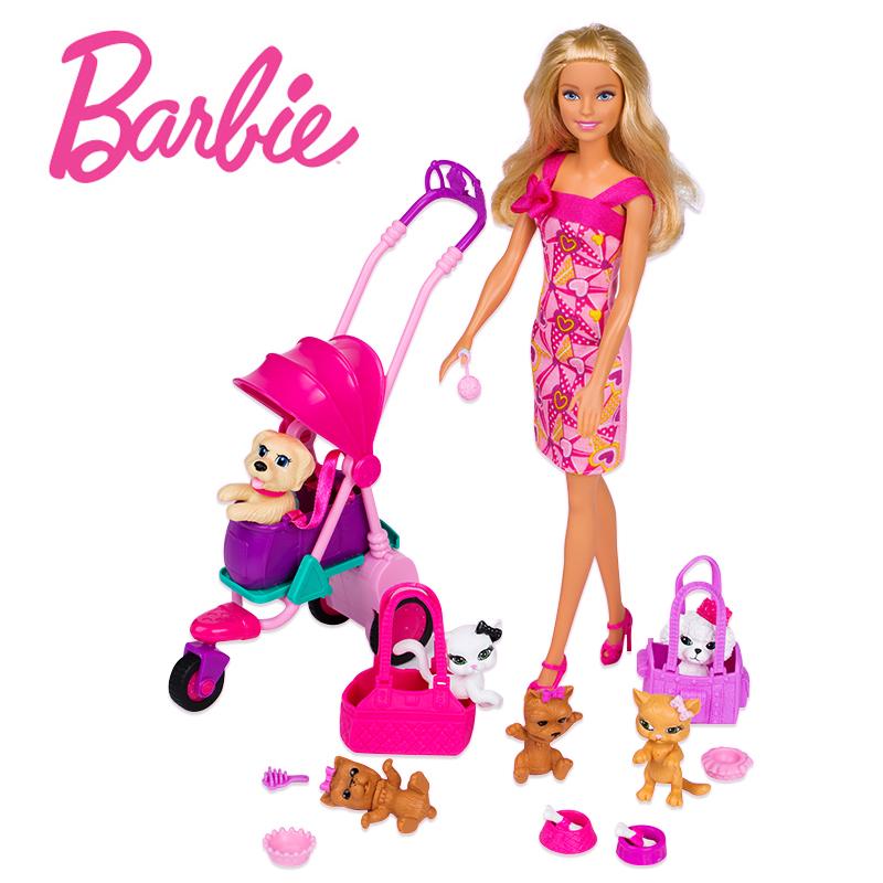 正版芭比娃娃 女孩手推车宠物套装大礼盒儿童玩具洋娃娃生日礼物