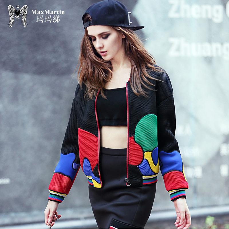 玛玛绨2018秋装新款时尚潮牌短外套夹克女韩版宽松休闲棒球服开衫
