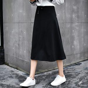 黑色半身裙a字型中长款休闲百搭高腰显瘦纯棉学生长裙女夏学院风