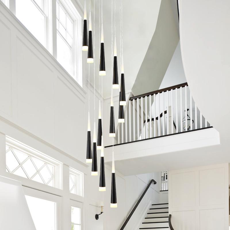 北欧楼梯吊灯loft跃层客厅后现代简约餐厅旋转复式楼梯间长吊灯