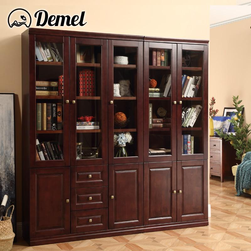 迪美尔 美式书柜乡村实木家具书房2门3门自合储物柜玻璃门带抽屉