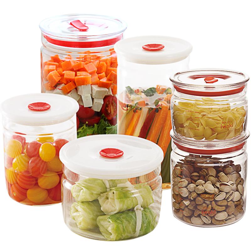 密封罐日本iwaki怡万家进口耐热玻璃密封罐防潮奶粉罐冰箱储物罐