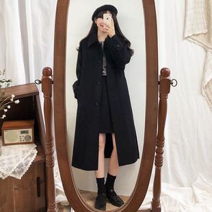 2019秋冬季新款韩版加厚大码修身黑色小个子中长款毛呢大衣外套女