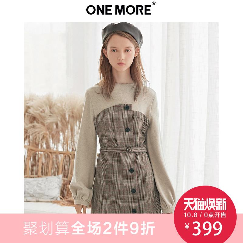 ONE MORE2018冬装新款假两件拼接毛呢连衣裙女长袖格子裙中长款