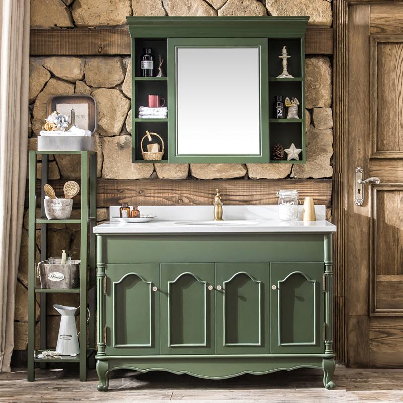 美式乡村橡木浴室柜组合洗脸洗手盆池面盆洗漱台盆轻奢新古典欧式