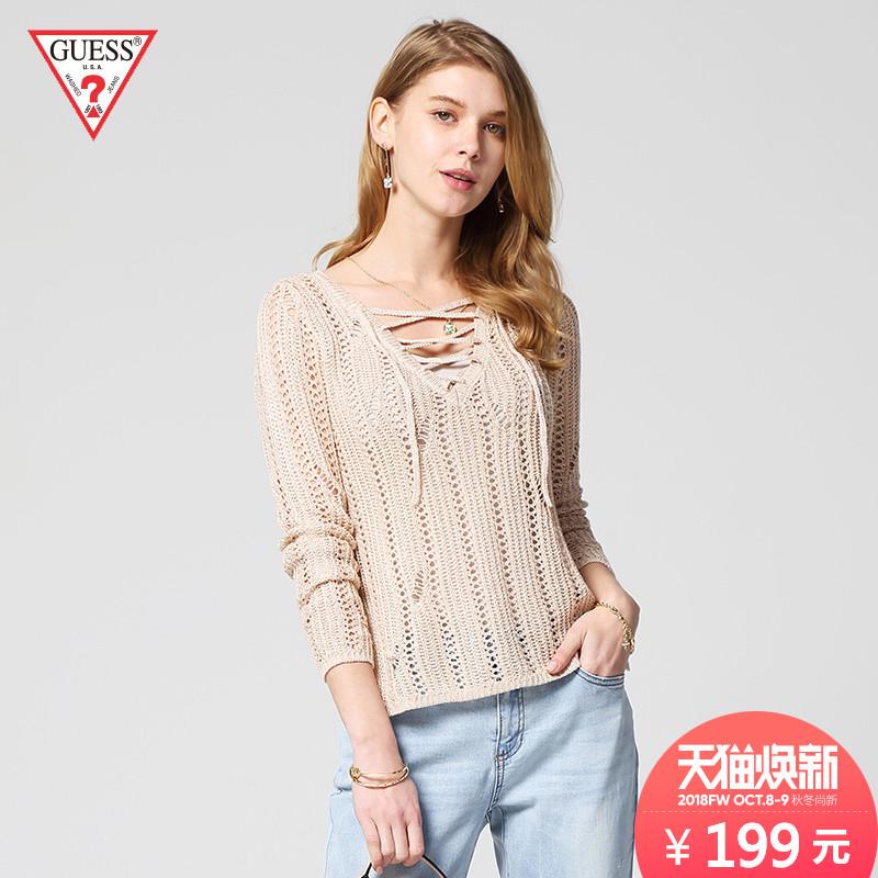 GUESS2018女士绑带镂空针织毛衣-W81R53R1Z80