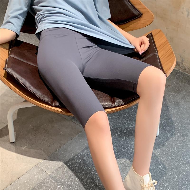 鲨鱼皮打底短裤夏高腰瑜伽裤健美五分芭比裤女外穿薄款紧身骑行裤