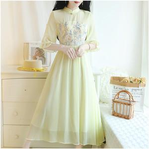 1426#实拍新款改良版旗袍刺绣花朵雪纺连衣裙