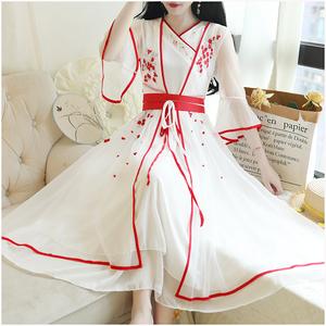 1345#实拍很仙的夏季日常汉服改良中国风连衣裙两件套夏装