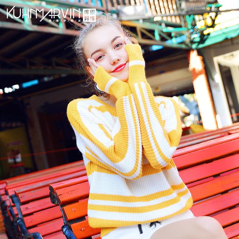 2018新款甜美可爱小清新黄色条纹毛衣女秋冬糖果色套头长袖针织衫