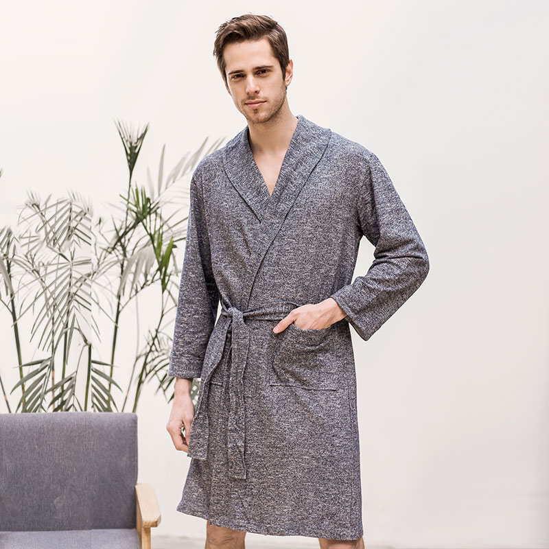 新款春秋男士睡袍薄中长款浴袍日式毛巾料长袖浴衣睡衣家居服睡袍