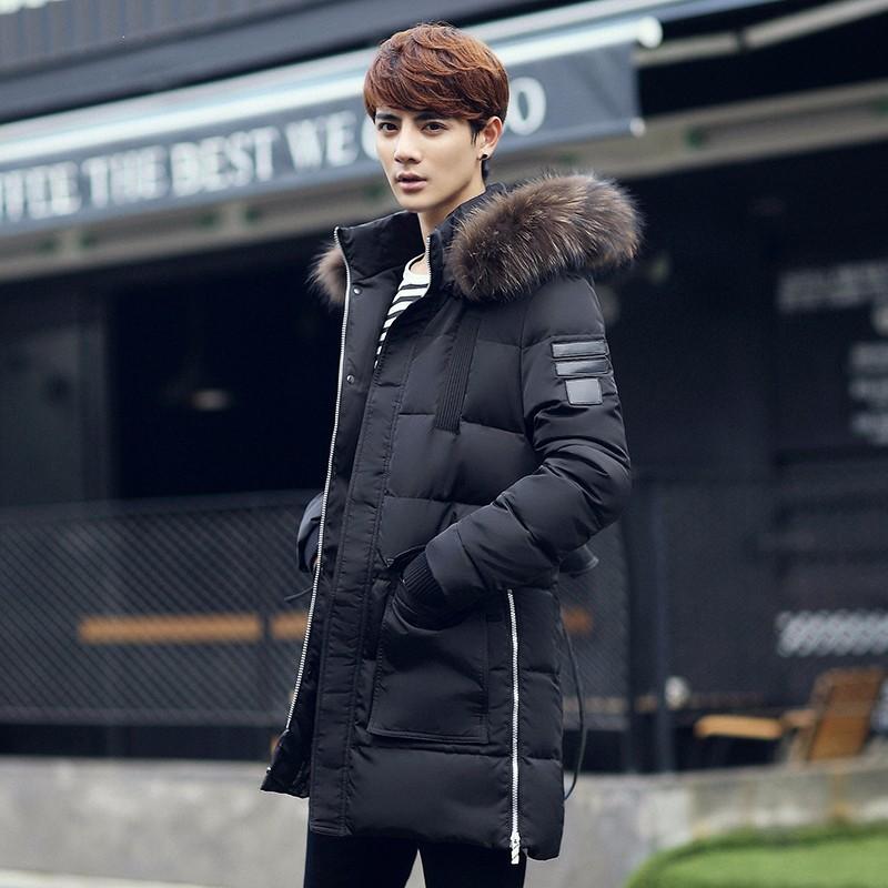 男士冬季新款羽绒服男式中长款韩版修身时尚加厚羽绒服连帽外套潮