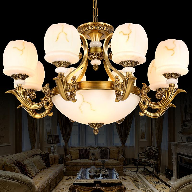 高端欧式全铜吊灯美式铜灯卧室客厅餐厅大气仿云石灯具灯饰