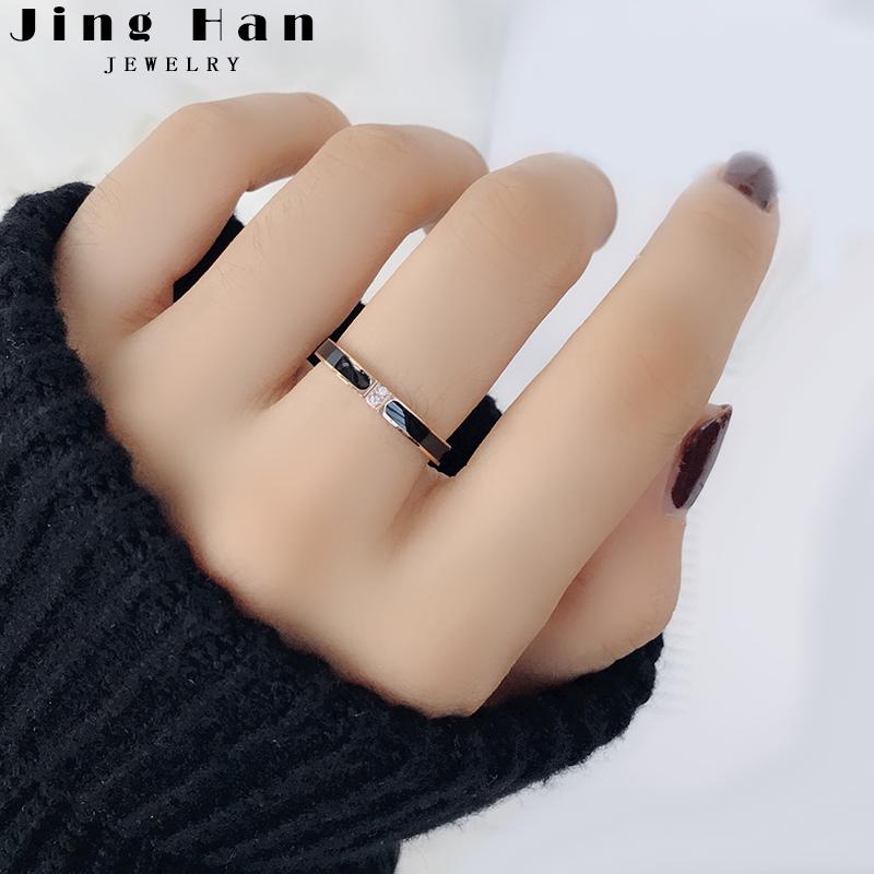 日韩简约钛钢玫瑰金戒指女细尾戒网红食指戒潮人学生个性刻字礼物