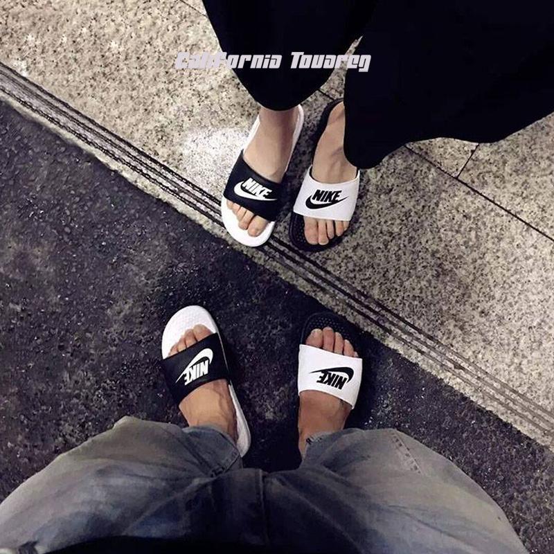 耐克NIKE BENASSI明星同款 阴阳鸳鸯情侣沙滩休闲 拖鞋818736-011