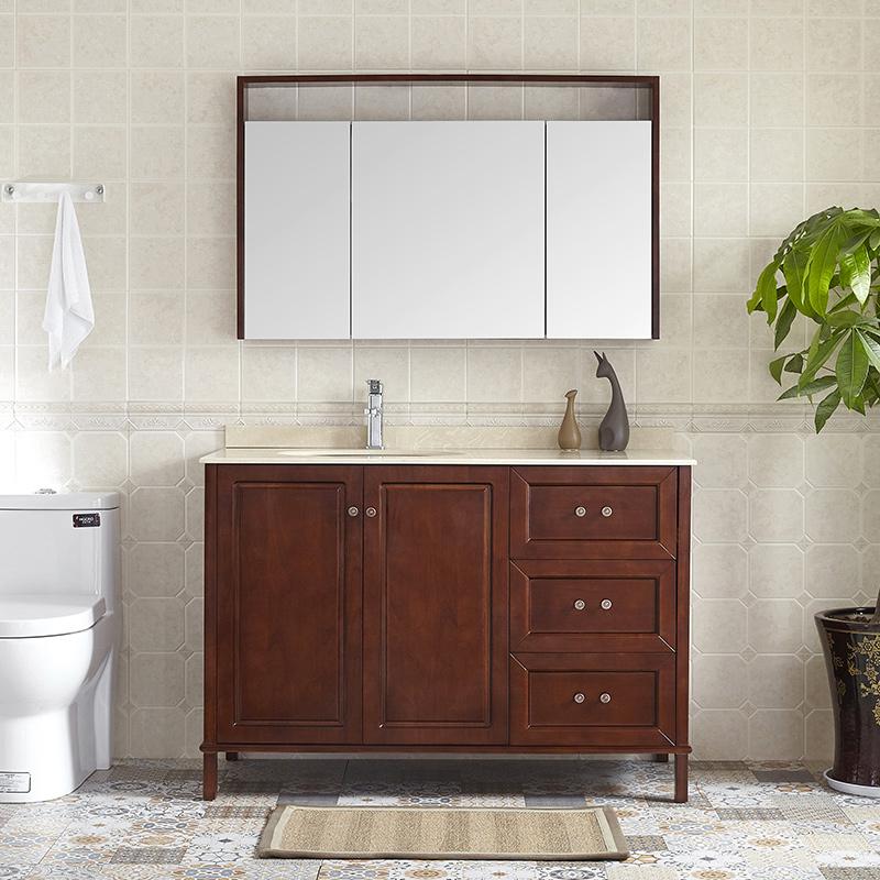 现代新中式落地浴室柜橡木卫浴柜组合柜洗脸盆柜洗手盆台盆柜定做