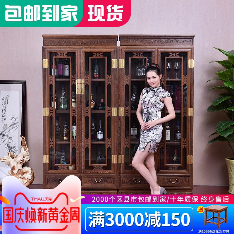 仙铭源红木家具鸡翅木新中式仿古客厅隔断实木展示玄关柜玻璃酒柜