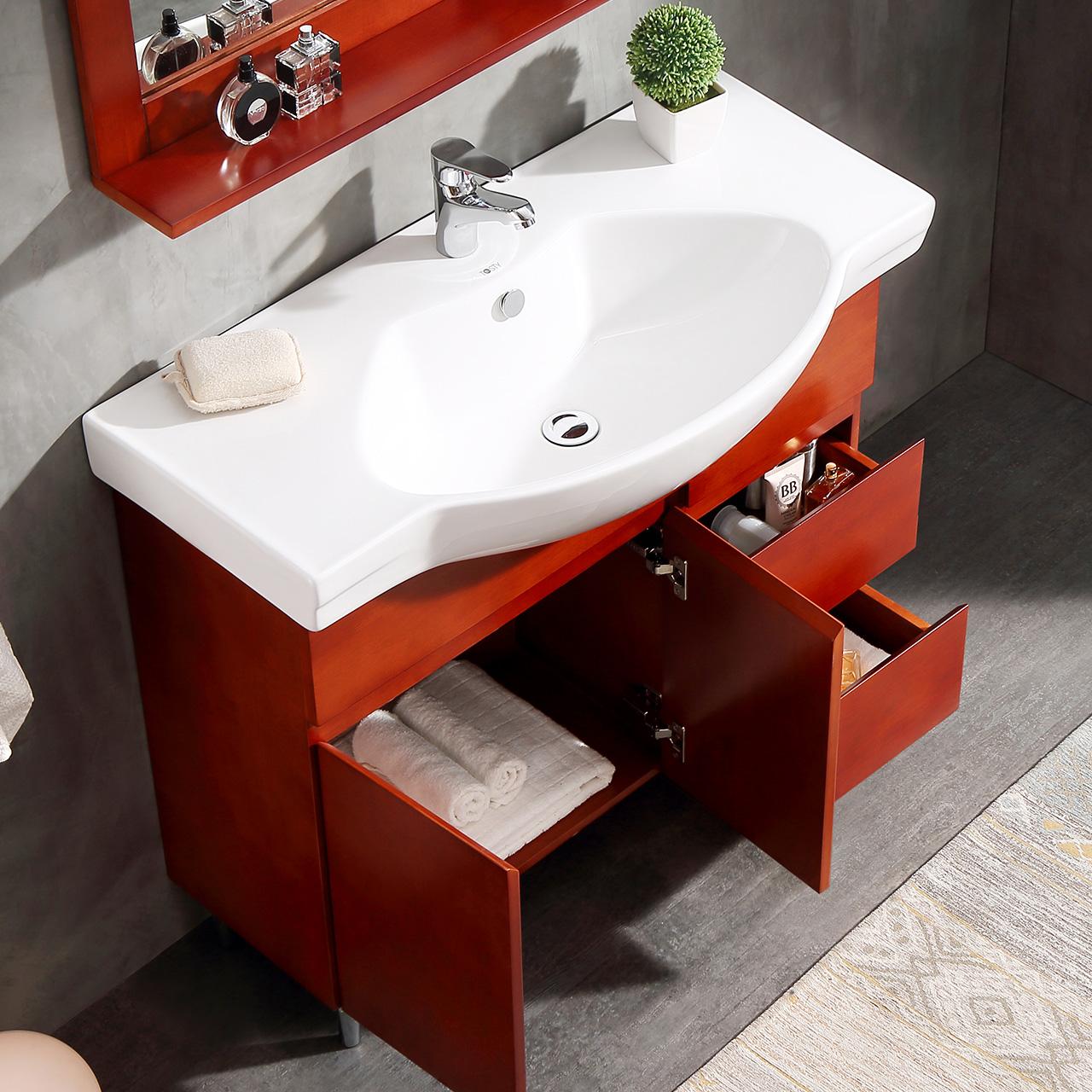 唐彩实木简约美式浴室柜组合洗漱台多收纳落地式洗脸盆组合TC8822