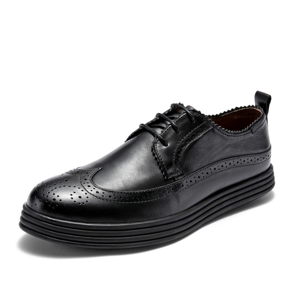 维界布洛克男鞋英伦风真皮雕花商务休闲小皮鞋男韩版潮流鞋子黑色