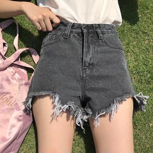 夏装显瘦虚边百搭显瘦牛仔短裤女高腰 破洞 不规则 ins超火的热裤