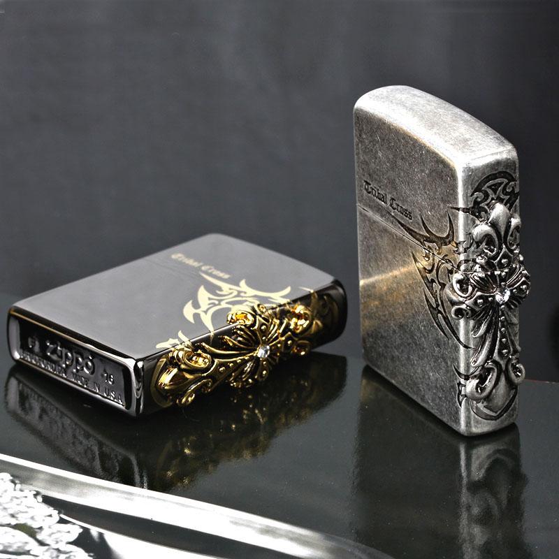 原装ZIPPO打火机 正品限量版 黑冰-古银侧面十字架 正版超薄zippo