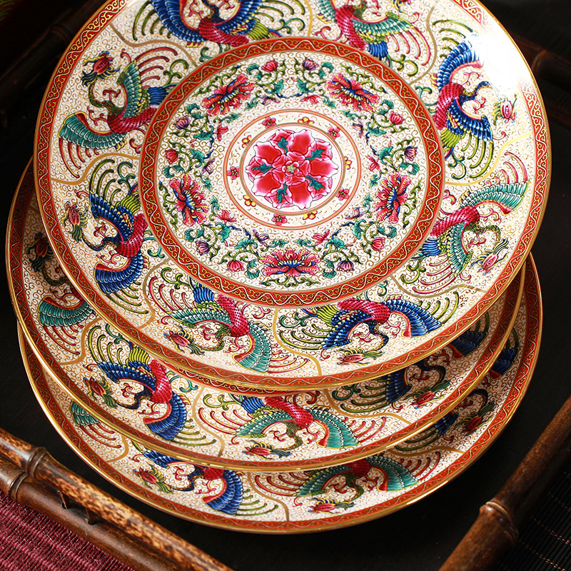 The head of 59 see ipads porcelain enamel jingdezhen western Chinese palace tableware dishes suit