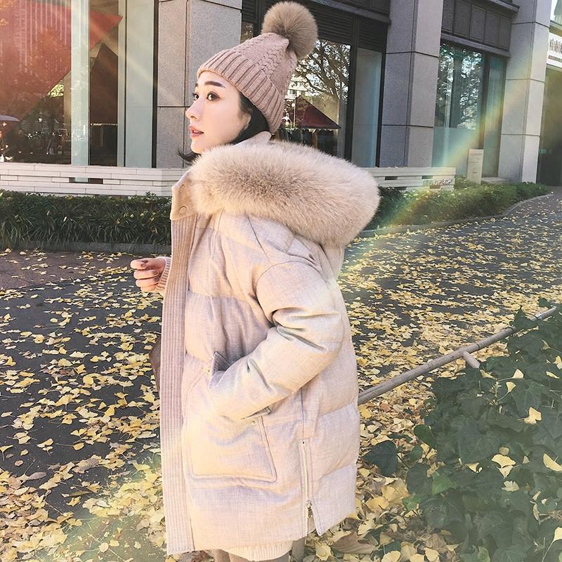 小宜定制 新款女装冬加厚显瘦中长款真狐狸大毛领连帽羽绒服外套