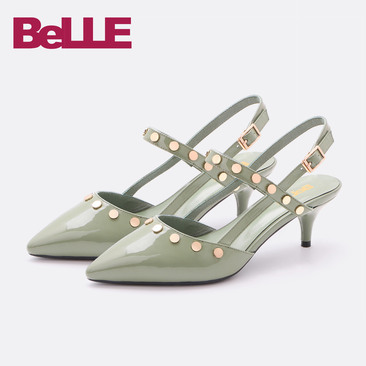 Belle-百丽凉鞋18春季新款商场同款牛漆皮细跟女鞋S4M1DAH8