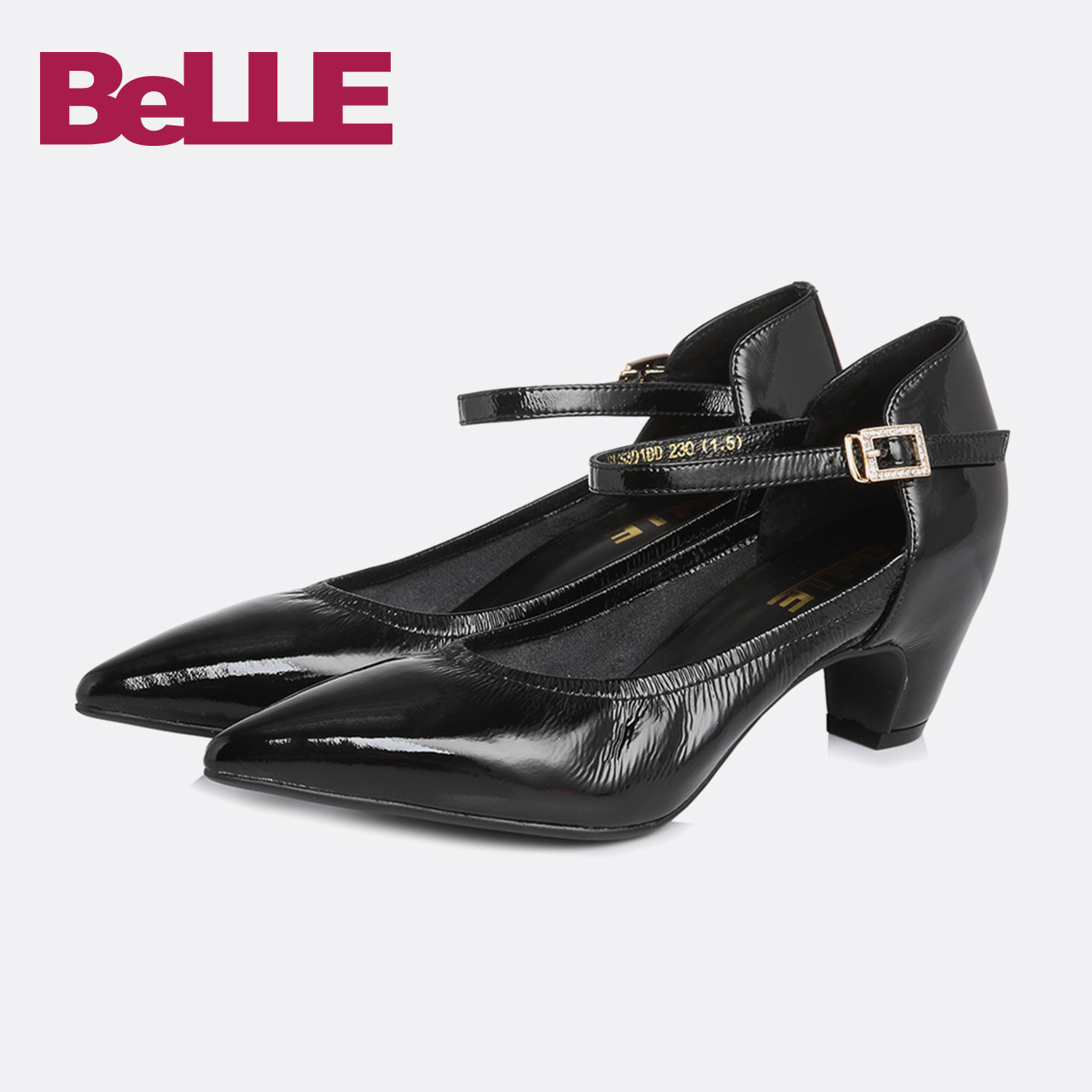 Belle-百丽单鞋2018春新商场款皱牛皮中细跟女鞋S3D1DAQ8