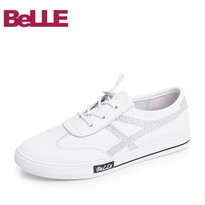 百丽女鞋18春商场同款新款牛皮革-织物女休闲学院小白鞋S8C1DAM8