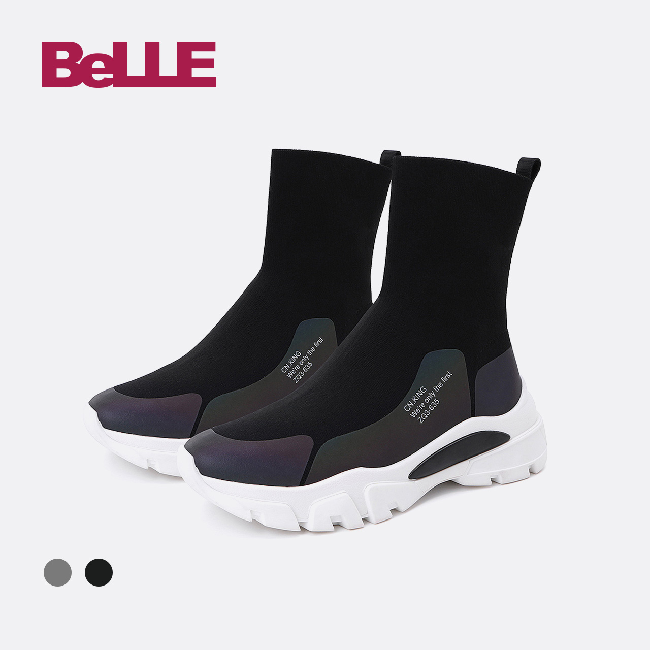 Belle-百丽女鞋厚底袜靴2018冬商场新款女旅游靴短靴T2F1DDD8