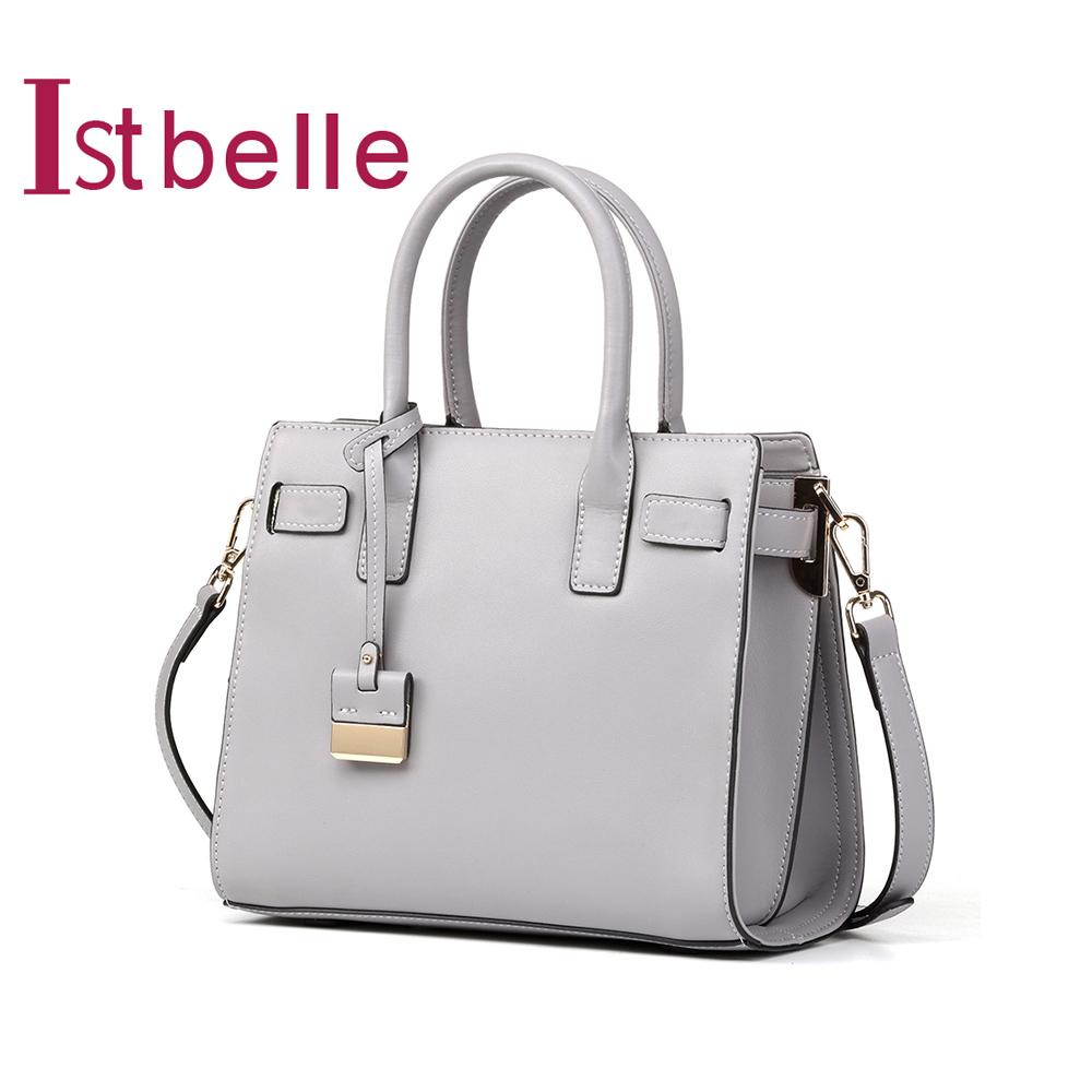 Istbelle-百丽箱包春新商场同款牛皮革OL手提单肩女包L2263AN8
